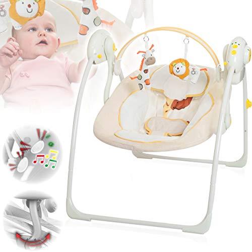 Babyschaukel (vollautomatisch 230V) mit 8 Melodien und 5 Schaukelgeschwindigkeiten (BEIGE)
