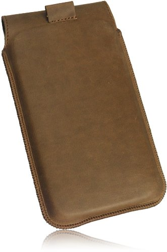 MATADOR Slim Design Vintage Look Antik Echt Leder Tasche für Huawei Ascend W1 Handytasche Schutz Hülle Etui Vertikaltasche Tabacco mit Magnetverschluß und Ausziehhilfe - 3