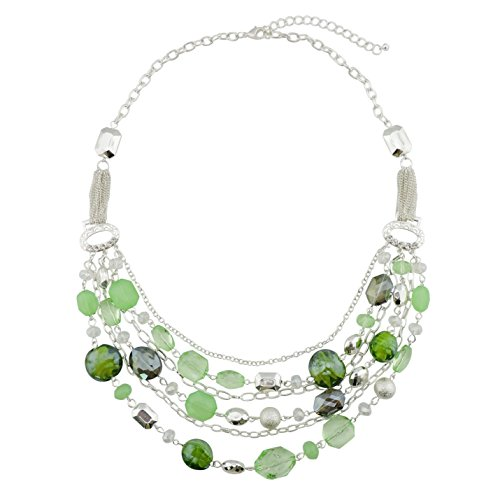 Bocar, collana multistrato con catenine, smaltata e con cristalli colorati, per donna e nichel, colore: Light Green, cod. NK-10061