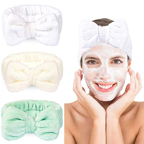 3 bandas para el pelo con lazo, de forro polar, elásticas, para spa, yoga, deportes, ducha, belleza facial, cuidado de la piel