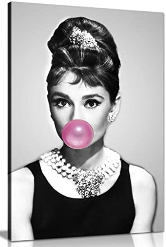Audrey Hepburn Bubblegum Chewing Gum Canvas Wall Art Picture Print (24x16in)