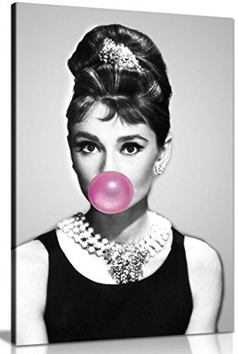 Lienzo impreso de Audrey Hepburn con chicle de goma de mascar (30x20in)