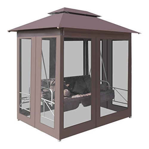 Nishore Pavillon Schaukelstuhl Hollywoodschaukel Gartenschaukel mit Bettfunktion Stahlrahmen Max. Tragfähigkeit 240 kg 220 x 160 x 240 cm (L x B x H)