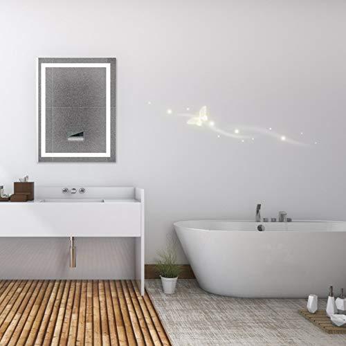 YIZHE Espejo Redondo de Baño,Espejo Pared Antinieble LED con Interruptor Táctil,Espejo LED Premium,Espejo de Pared,Espejo Baño,Espejo Colgante,Dimensiones del Espejo 60x80 cm(conexión Bluetooth)