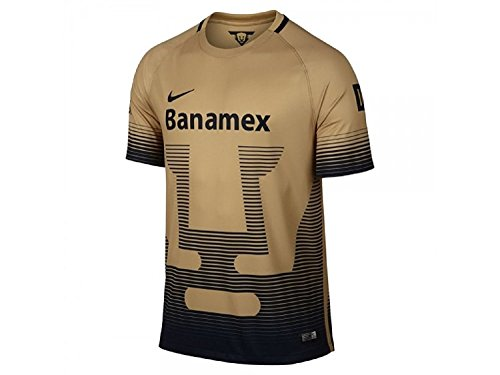 NIKE 2015-2016 UNAM Pumas Home Replica Soccer Jersey (Gold/Navy) (S)