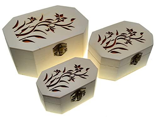 3 achthoekige dozen Nestkasten Schatkist (3 pakketten) Houten schatkist Klassieke decoratieve opslag Hout ambachten Achthoekige doos Houten dozen Sieraden doos