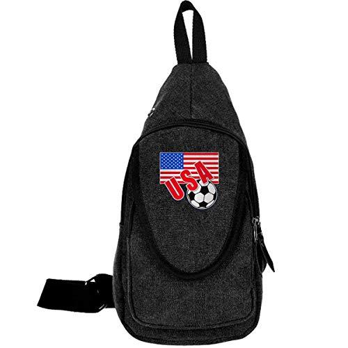 USA Fußball und Flagge Moda Brusttaschen Brustgeschirr Sling Spalle Rucksäcke Schultertasche Dreieck Triangle Rucksack Mehrzweckrucksack für Erwachsene oder Jugendliche