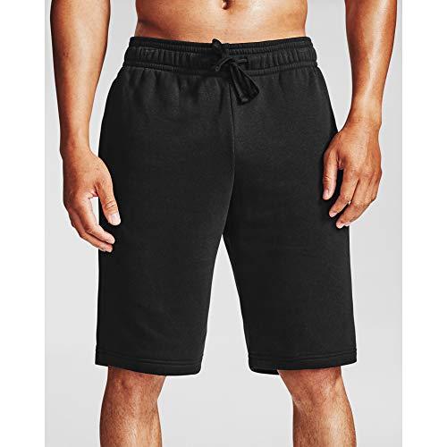 Under Armour Rival - Pantalones Cortos de Forro Polar para Hombre, Hombre, Pantalones Cortos, 1357117, Negro (001)/Blanco ónix, XXXXL Alto