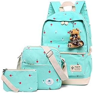 3Pcs/Sets Women Backpacks Casual Printing School Backpack Green L28cm W15cm H45cm