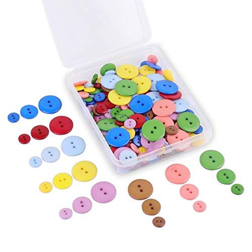 SUNTATOP 200 Pezzi Bottoni di Resina 2 Fori per Cucito Fai da Te Decorativo 10mm/15mm/20mm,8 Colori