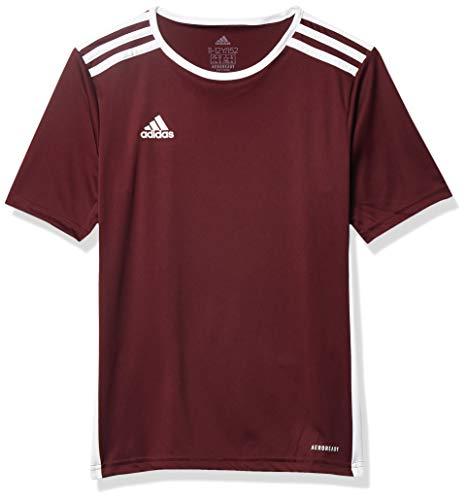 adidas Men's Entrada 18 AEROREADY Primegreen Regular Fit Soccer Short Sleeve Jersey, Maroon/White, Medium
