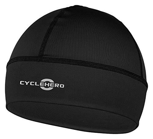 CYCLEHERO Helmmütze Winddicht (schwarz, L-XXL) - wasserdichte Herren und Damen Fahrrad Mütze für unter den Fahrradhelm