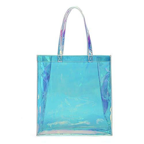 DYHM Handbag Klare PVC-Einkaufstasche Iridescent Premium Glitter Rainbow Strandtasche Werbeartikel (Color : Blue, Size : One Size)