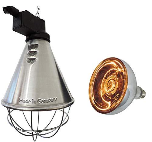 Eider Infrarot Wärmestrahlgerät Profi inkl. Leuchtmittel (Weißlicht-Birne 150W bereits enthalten) - Wärmelampe für Tiere