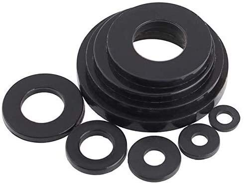 Hardware 50 unids-múltiples especificaciones de plástico negro arandela de nylon plateado espaciador plano arandela de arandela de arandela de la junta M2 M2.5 M3 M4 M5 M6 M8 M10 M12 M14 mm16 M18 M20