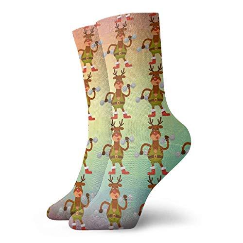 NGMADOIAN grappige gekke Crew sok Kerstmis Polar Deer in sportieve overalls 3D gedrukte sport atletische sokken 30cm lang gepersonaliseerde cadeausokken