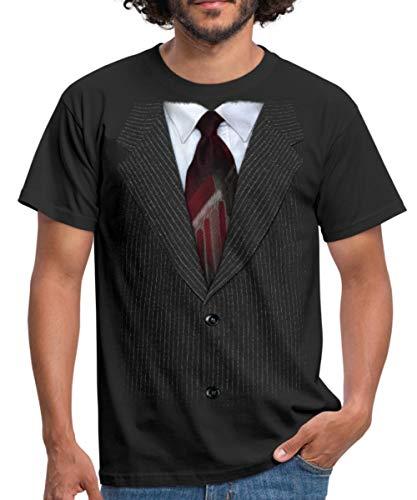 Anzug Mit Krawatte Scherz Männer T-Shirt, XXL, Schwarz