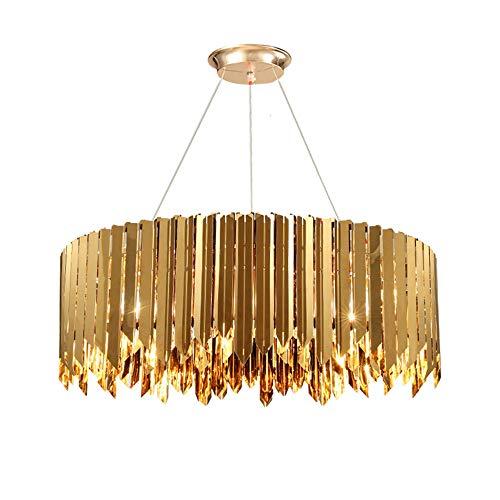 Luce Plafoniera Poste moderno minimalista luz de acero inoxidable lujo sala de estar LED dormitorio lámpara iluminación geométrica araña de cristal (Color : Chrome)