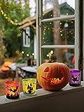 MJ PREMIER Halloween Teelichthalter, 6 Stück Kerzenhalter 7x7x8 cm Halloween Dekoration, Kürbis und Hexe Windlicht, Teelichtgläser für Halloween Deko, Tischdeko, Party, Geschenk - 2