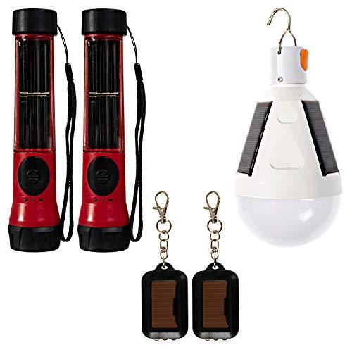 SOS Solarlight Survival Light Pack (6 Solar lights) 2 Solar Flashlights 2 Solar lightbulbs 2 mini solar flash lights for Camping Accessories, Outdoor Gear, Emergency Flashlights Water Resistant Light