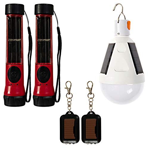 SOS Solarlight Survival Light Pack (6 Solar lights) 2 Solar Flashlights 2 Solar lightbulbs 2 mini solar flash lights for camping lights power outage hurricane solar lights outdoor storms emergencies