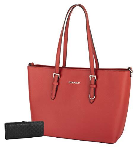 Flora & Co Paris (F9126) Handtasche mit Henkel und Schultertasche, DIN A4+, Rot / Rot