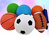 Pack of 6 Sports Balls with 1 Pump - 5' Soccer, 5' Basketball, 5' Volleyball, 5' Playground, 5' Knobby Ball, and 6.5' Football - Best Toy Gift for Kids Toddler Baby Boys and Girls Age 1, 2 and 3