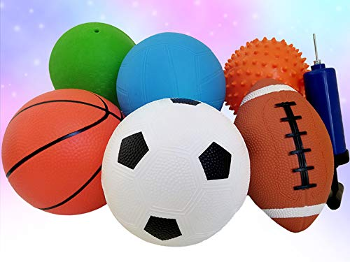 Pack of 6 Sports Balls with 1 Pump - 5' Soccer, 5'...