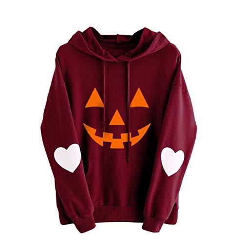 Lazzboy Store Kostüm Damen, Langarm Halloween Kürbis Herzdruck Kordelzug Tasche Hoodie Tops Bluse,Sweatshirts & Kapuzenpullover (S-5XL) ( Wein,M )