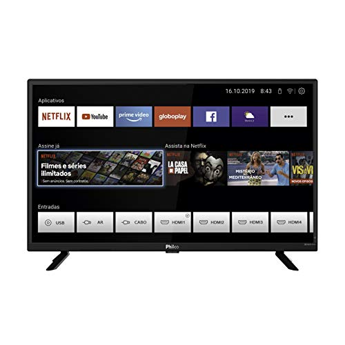 Smart TV, PTV32G52S, 32' Polegadas, Tela LED, Wi-Fi integrado, Entradas HDMI e USB, Conversor digital integrado, Philco