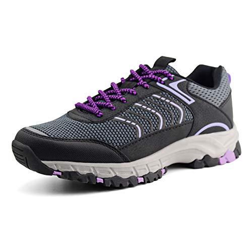 JABASIC Womens Hiking Shoes Lightweight Outdoor Trekking Knit Shoes (5,Grey/Purple)
