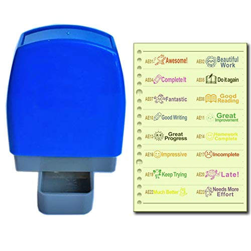 SSEELL Set of 4 Self Inking Teacher Stamp Self-Inking Rubber Stamps School Teachers Review Homework Feedback Stamps Stationary Flash Stamps. 8 Ink Color Customization. Over 40 Text Options