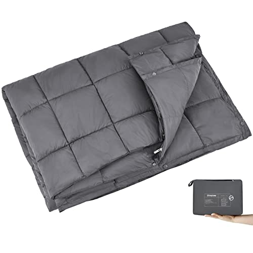 KingCamp Ultraleicht Reisedecke Outdoor Decke Wasserabweisend Kompakt für Camping Picknick Reisen, 175 × 135 cm, Grau