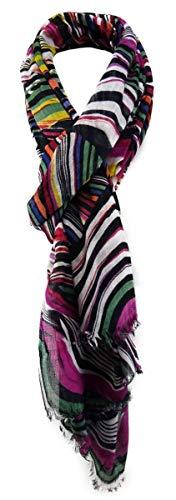 TigerTie Designer sjaal in magenta grijs groen oranje paars geel blauw met patroon - Gr. 180 x 100 cm.