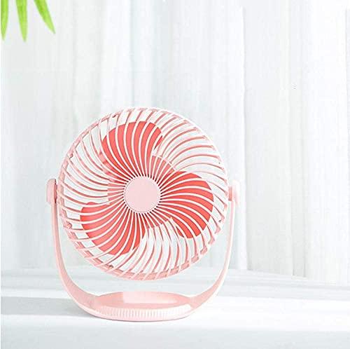 MUMUMI Mini Fan, Ventilador de Siete Pulgadas de Rotación Creativa de 360 Grados,Rosa,Ventilador