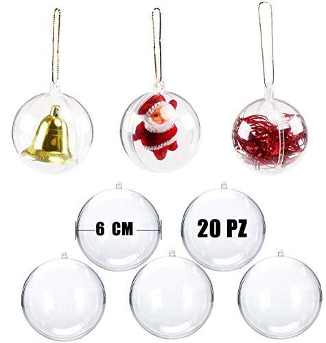 Okaytec Palline per Albero di Natale - Palle di Natale Trasparenti Come Addobbi Natalizi per Decorazioni Albero Natale - 20 pz (Diametro 6 cm)