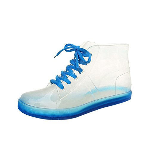 Hzjundasi Damen Rutschfest Transparent Schnüren Regenstiefel Ladies Wasserdicht Gummistiefel Stiefeletten Regen Stiefel Wasser Schuhe