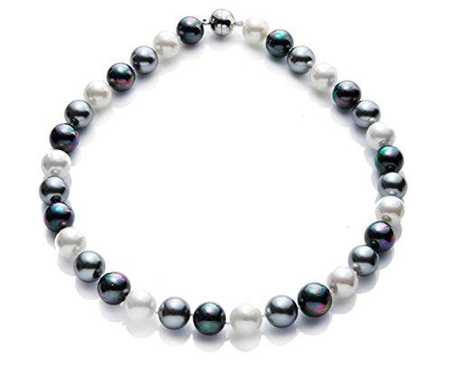 silvity Damen Perlencollier aus Muschelkernperle 1.1 x 1.1cm 47 cm Farbe. Aubergine & Peacock 892901-20
