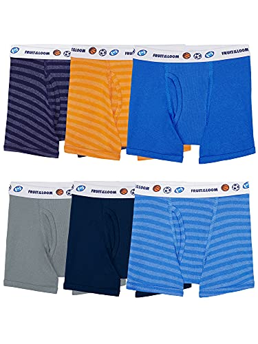 Fruit of the Loom Toddler Boys' Boxer Briefs (Assorted), Cotton-6 Pack-Assorted, 2T/3T