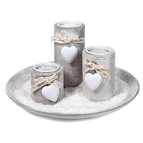 Acan Bandeja con 3 portavelas de Madera con corazón y Arena Blanca 24,8 x 13 cm, Velas Decorativas jardín, baño, Bodas, decoración Vintage hogar