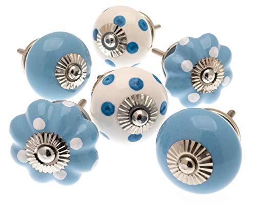 Gemischt Set Von Pastell Blau Weiß Schrankknöpfe x Pack 6 - MG-219-D - Vintage Schickes