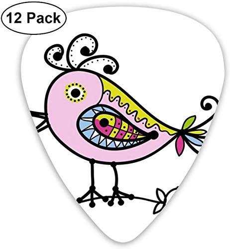 Plektren - 12er Pack, abstrakte Tierfigur im handgezeichneten Stil lustige fröhliche Figur verzierten Umriss, für E-Bass-Akustikgitarre
