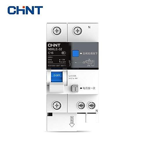 CHINT Protección contra sobrecarga de disyuntor miniatura de fuga a tierra NB6LE-32 1P + N Serie Interruptor de aire doméstico 16A 20A 25A 32A-1P-N_25A