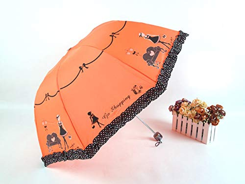 NJSDDB paraplu Kant Bloem Drievoudige Paraplu's Voor Vrouwen UV Bescherming Zon Regen Paraplu Bloem Print Paraplu, Als afbeelding