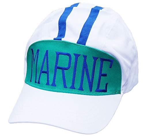 Gankchen One Piece Admiral Akainu Cosplay Marine Hat Blue White Size Adjustable Caps Naval Officer 'Red Dog' Costume Hats