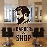 YHZSML Barbershop Man Face Tatuajes de Pared Sign Logo Barber Shop Window Sticker Vinyl Decor Barber's Moustache Mural Wallpaper 42x91cm
