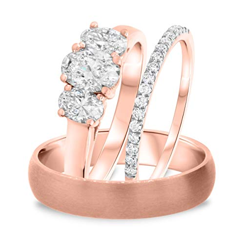 1 1/5 CT. TW. Forma ovale D/VVS1 diamante trasparente 5 mm uomini & 3 mm donne trio anello di nozze coordinato Set 14 K oro rosa placcato 925 argento_66