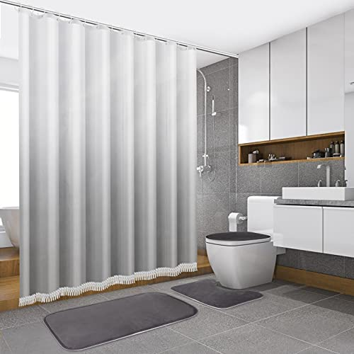 Shower Curtain Set with Non Slip Bath Mats and Toilet Lid Cover, Fabric Ombre Shower Curtain with Tassels, FLYMALL Waterproof White and Grey Bathroom Decor Curtains with 12 Pcs Hooks (Ombre Grey Set)