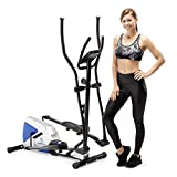 Marcy Magnetic Elliptical Trainer Cardio Workout Machine with Pulse Monitor & Transport Wheels ME-1017E, One Size