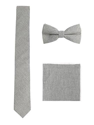 WANYING Herren Baumwolle 6cm Schmale Krawatte & Gebundene Fliege & Einstecktuch 3 in 1 Sets Trendmode Casual - Grau
